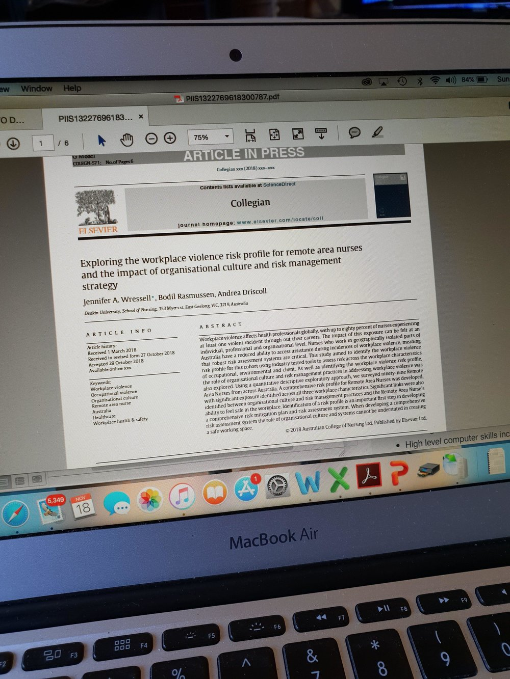 First peer reviewed article published!! - In November, Jen had her first peer reviewed journal article published. On a subject close to our heart at mia, occupational violence and risk factor awareness.