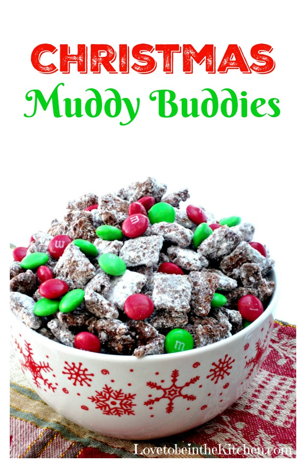 Muddy Buddies - INGREDIENTS1 box (12.8 oz.) (about 13 cups) Rice Chex, Corn Chex Wheat Chex or Chocolate Chex cereal (or combination)*2 cups semisweet chocolate chips¾ cup creamy peanut butter6 tablespoons butter, cut into smaller pieces1½ teaspoons vanilla extract2 cups powdered sugar1 cup Holiday M&M'sINSTRUCTIONSReport this adLine 2 baking sheets with wax paper and set aside. Pour cereal into a very large bowl; set aside.In 1-1.5 quart microwavable bowl, microwave chocolate chips, peanut butter, and butter uncovered on High 1 minute; stir. Microwave 15-30 seconds longer or until mixture can be stirred smooth. Stir in vanilla. Pour mixture over cereal, stirring until evenly coated.Add powdered sugar and gently stir into chocolate covered cereal. Spread cereal on the two baking sheets to cool. Once cool, put the Muddy Buddies into the desired container or gift bags, by adding a small amount of Muddy Buddies then sprinkle a few M&M's and repeat.Store in airtight container in the refrigerator.