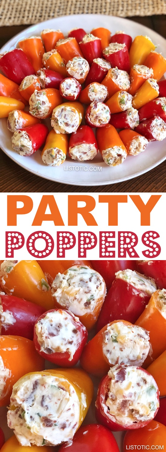 Party Poppers - INGREDIENTS:1 large bag sweet mini peppers (I buy the 2 pound bag)2 (8 ounce) packages cream cheese1 cup bacon bits2-3 jalapeños (finely diced)1 1/2 cups shredded sharp cheddar or pepper jack cheeseINSTRUCTIONS:Remove the cream cheese from the fridge and let it sit at room temperature for about 30 minutes. This will make it easier to mix with the other ingredients later.Cut the tops off of the mini peppers and clean out the seeds. In a medium to large bowl, use a spoon to mix together all of your ingredients except for the mini peppers.Use a small spoon or mini spatula to stuff the mini peppers with the mixture.That's it! Enjoy.