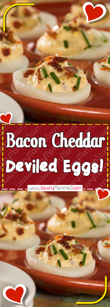 Bacon Cheddar Deviled Eggs - Ingredients :14 hard-cooked eggs1/2 cup mayonnaise1/2 cup sour cream1 1/2 teaspoons Dijon mustard1/4 teaspoon black pepper1/3 cup bacon bits1/4 cup (1 ounce) finely shredded sharp Cheddar cheese2 tablespoons chopped fresh chives or scallion (green onion) topsDirections :Slice eggs in half lengthwise. Remove yolks to a medium bowl. Reserve 24 white halves; finely chop remaining 4 white halves. Mash yolks with the fork.Add mayonnaise, sour cream, mustard, and pepper; mix well. Add chopped egg whites, bacon, cheese, and chives; mix well.Spoon 1 heaping tablespoon yolk mix