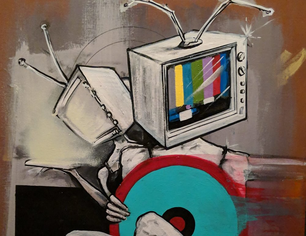 Détail de l'oeuvre de Dan Martelock Inspirée par la chanson  She Watches Channel Zero  du groupe Public Enemy que l'on peut voir et acheter au Atomic Rooster dans le cadre de l'exposition  Tones, Art Inspired By Music