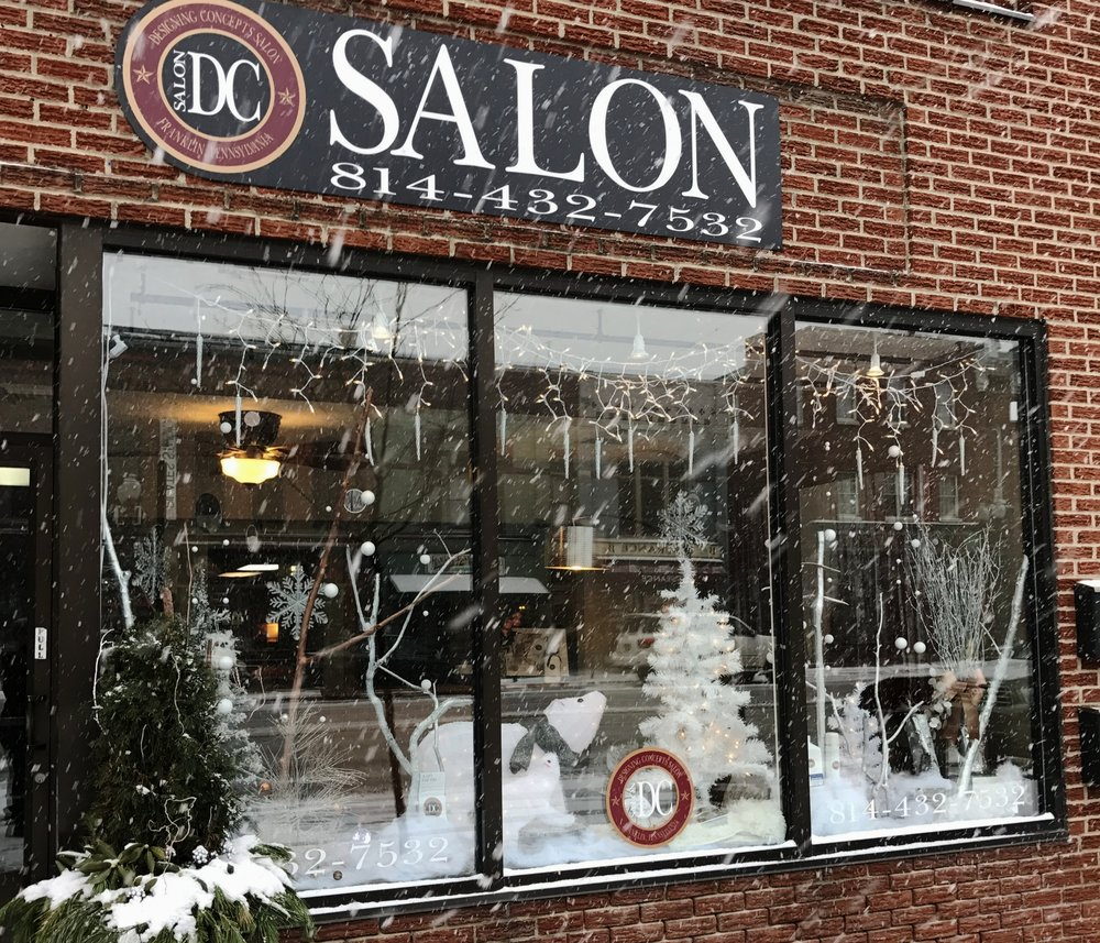 Our beautiful storefront on a snowy day in Franklin