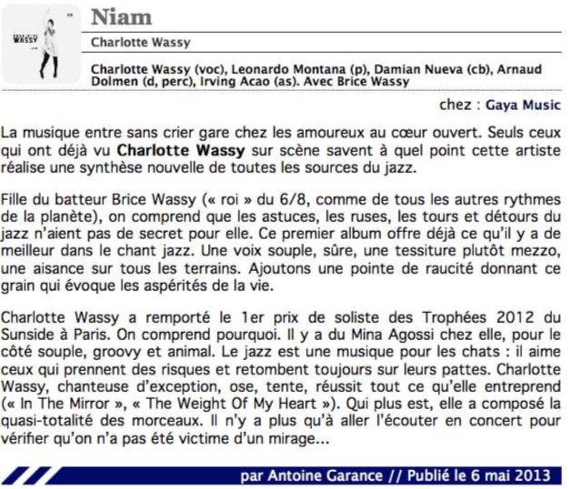 Antoine Garance - Citizen Jazz - Mai 2013