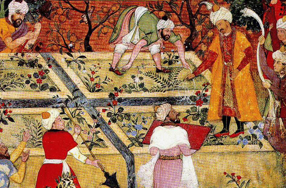 Babur supervising the laying out of a Kabul garden, by Bishndas, Mughal, ca. 1590