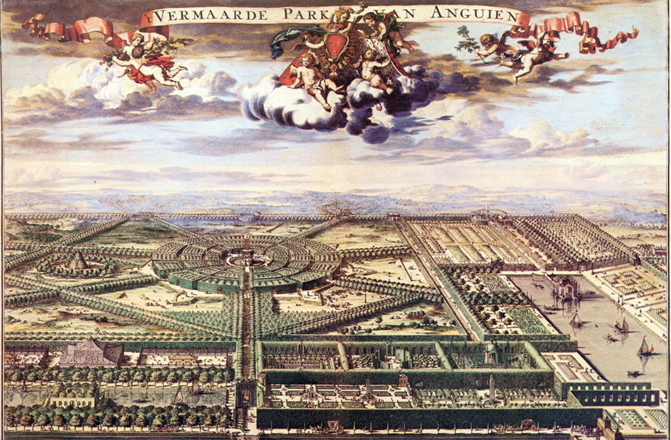"Romeyn de Hooghe, colored engraving of ""Reknowned Park of Enghien"""