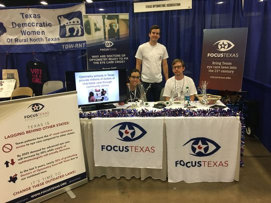 Doctors-in-training for optometry are seen at a Texas Democratic Party (TDP) state convention at a booth to bring awareness to a new coalition, Focus Texas, to change eye care laws in the state. (Photo: Contributed photo)