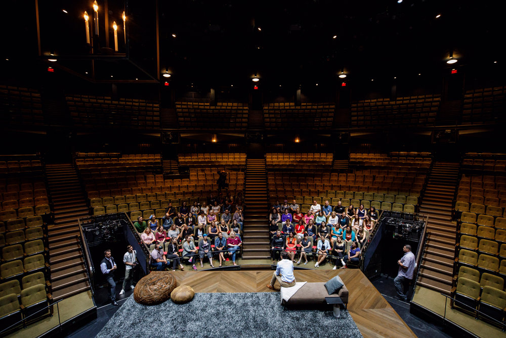Prime Minister Justin Trudeau toured the Stratford Festival on August 25, 2017. In the bottom left corner, I appear to be slacking off. Adam Scotti captured the scene from above.