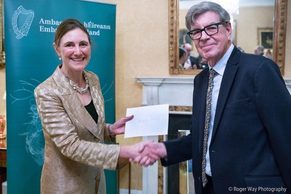 Cordelia Gelly, grand-daughter of Hubert Butler, with the winner, Nigel Lewis