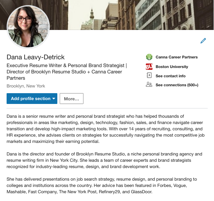 My own LinkedIn profile summary, which includes a headshot, a descriptive and keyword-optimized headline, and an overview of my skills and expertise.