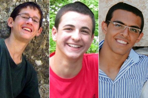 From left: Gilad Shaarh, Naftali Frenkel, Eyal Yifrah.  Photo: EPA