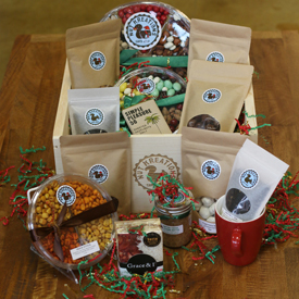 Cafes, Gift & Sundries Shops. - Nut Kreations has bag sizes, gift trays, gourmet gift boxes, butters, jams, and oils which are fantastic stand out items for souvenir and sundry shops, and cafes.We offer free displays for any need. From big all encompassing snack bins, to small counter top units that draw the eye and show case our fantastic products. Making them perfect for impulse buys and grab and go locations throughout the hotel property.We've put retail units in for a number of clients like the Fairfeild Inn, and Farimont Hotel SF. We provide the displays for free.  Mix and match bags of any size. Volume discounts of 5% on 50 bags or more, 10% discount on 100 bags or more and 15% discount on 150 bags or more.  No Order Minimums.Need more product and want to negotiate larger discounts. Please contact us and we can happily  send samples and negotiate greater volume deals.