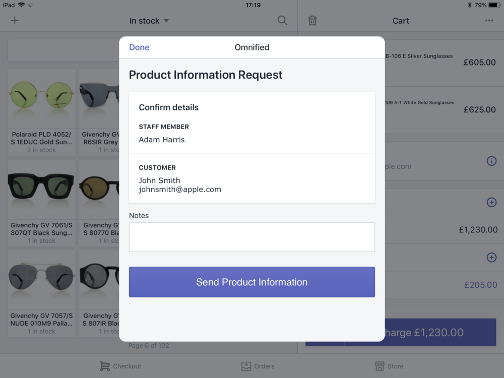 Shopify POS App - Send Product Information