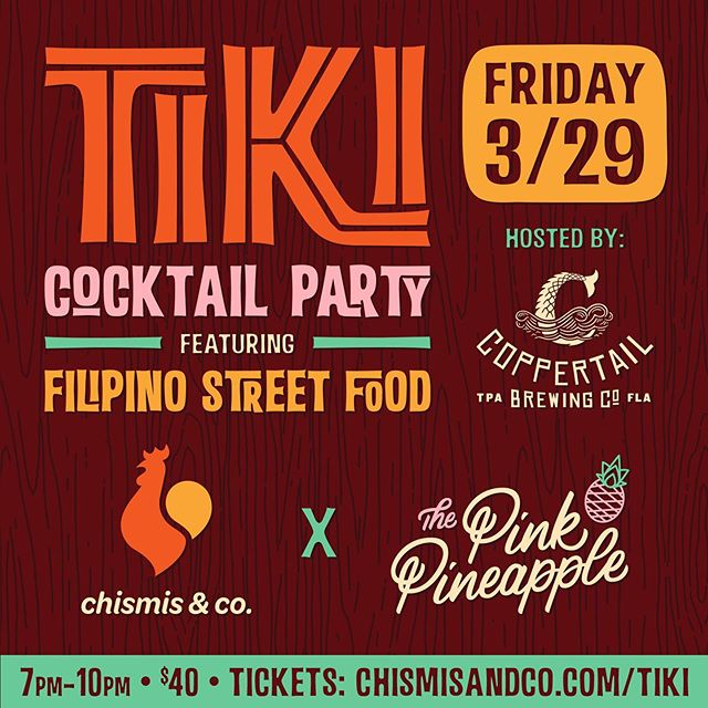 Come join us for a Tiki Cocktail Party! We are teaming up with @thepinkpineappletampa upstairs @coppertailbrewing serving up tiki dranks and Filipino pulutan (snacks) 7-10pm. The perfect way to roll into the weekend. Hit the link in our bio to grab tickets while they last. Good times a coming 🍹🍺🤤🤯