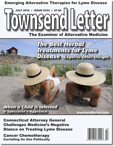 Townsend Letter takes Lyme Disease seriously, and just published our 10th annual Lyme issue! Click here to order our full set of 10 Lyme issues, or personalize your library to include only the ones you don't already have.  Remember, if you see one or more issues of the Townsend Letter that you think your doctor, or someone else should see,  contact us  today, and we are happy to help you with pricing and payment options.