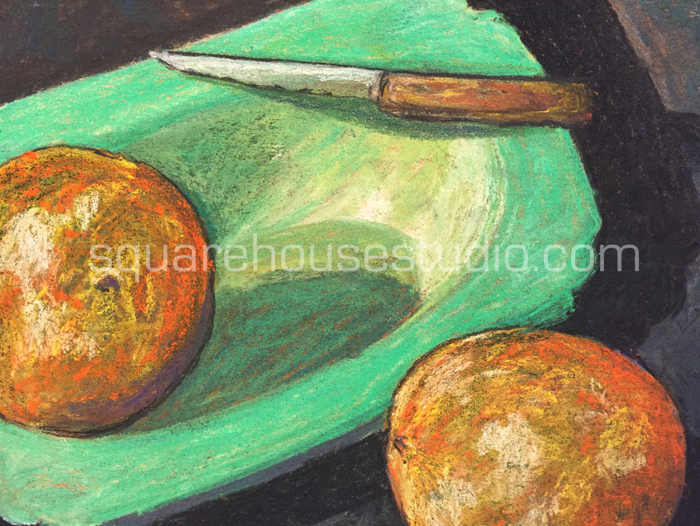 Green Bowl and Oranges , Available as a giclée print—$125 Framed / $70 unframed