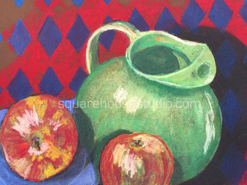 "Harlequin Pitcher , 11"" x 14,"" $400, Available as a giclée print—$125 Framed / $70 unframed"