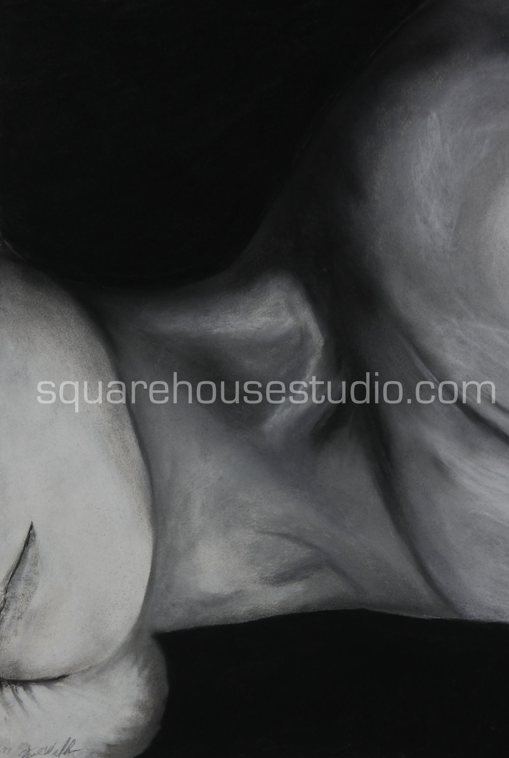 """Sunday Morning 3 , in a series of original charcoals drawings, 22"""" x 32,"""" $700, Available as giclée prints—$350 framed /$250 unframed"""