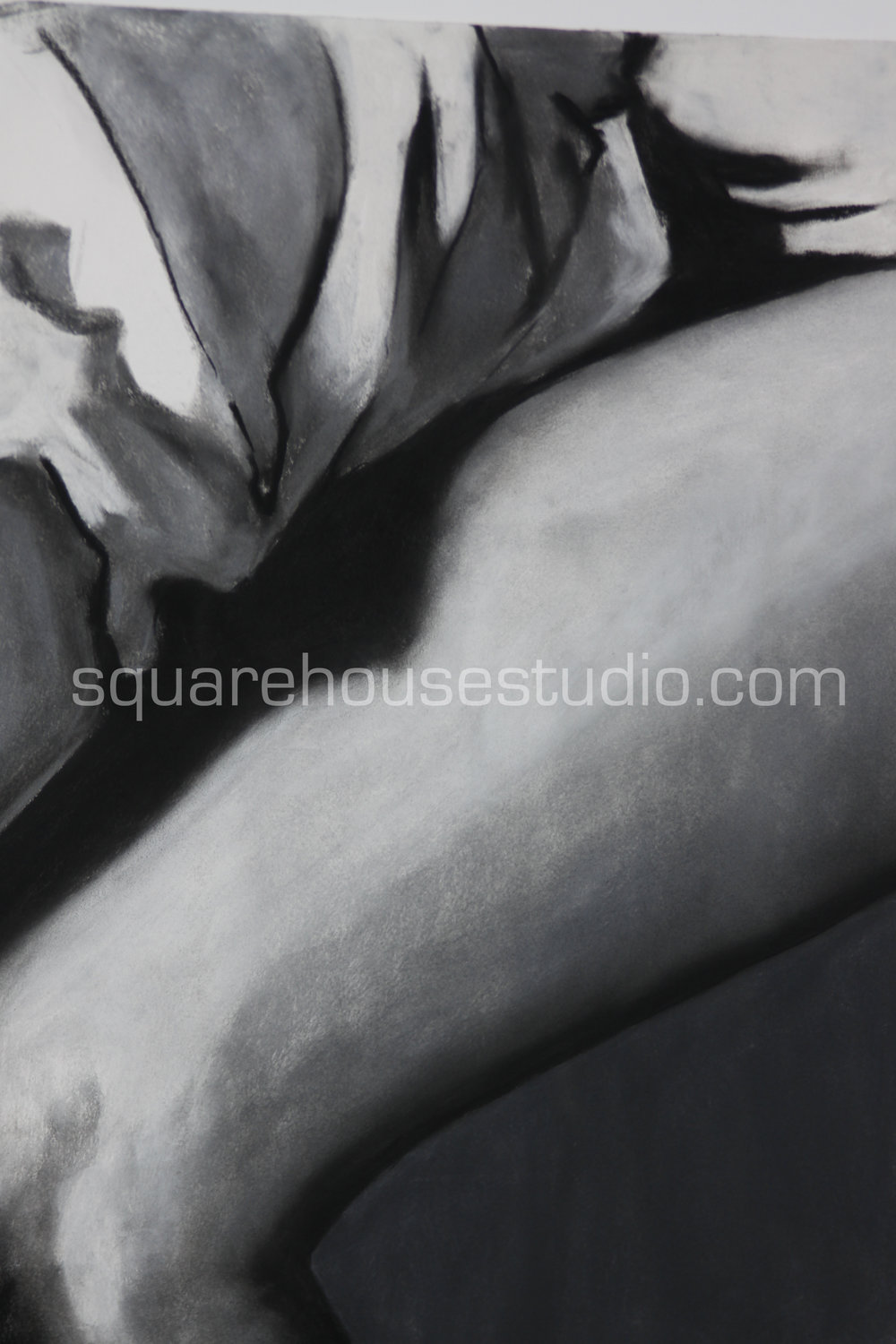 """Sunday Morning 5 , in a series of original charcoals drawings, 22"""" x 32,"""" $700, Available as giclée prints—$350 framed /$250 unframed"""