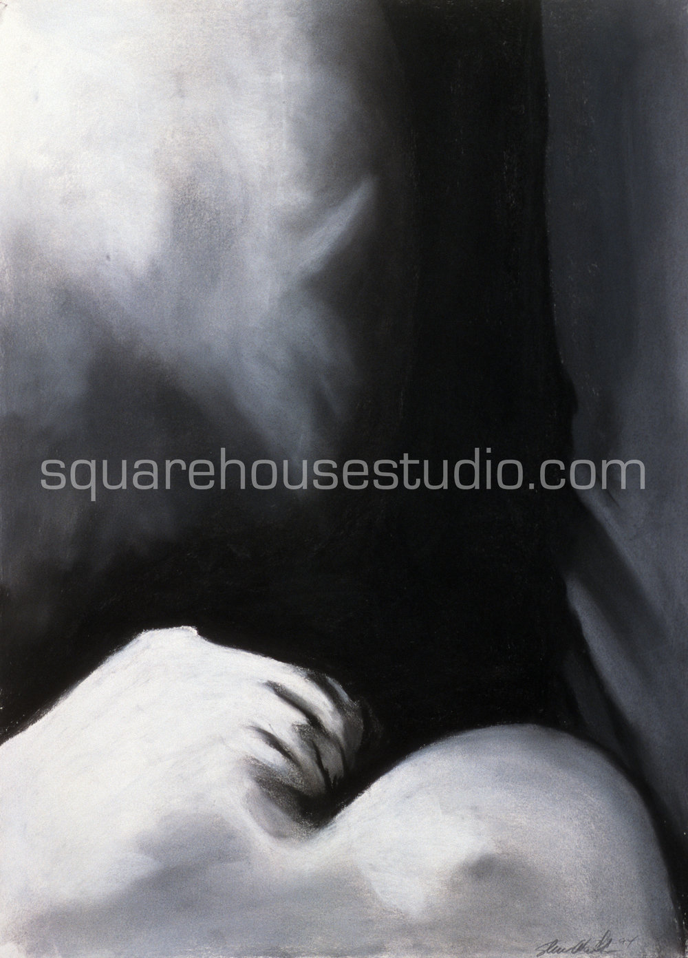 """Sunday Morning 8 , in a series of original charcoals drawings, 22"""" x 32,"""" $700, Available as giclée prints—$350 framed /$250 unframed"""
