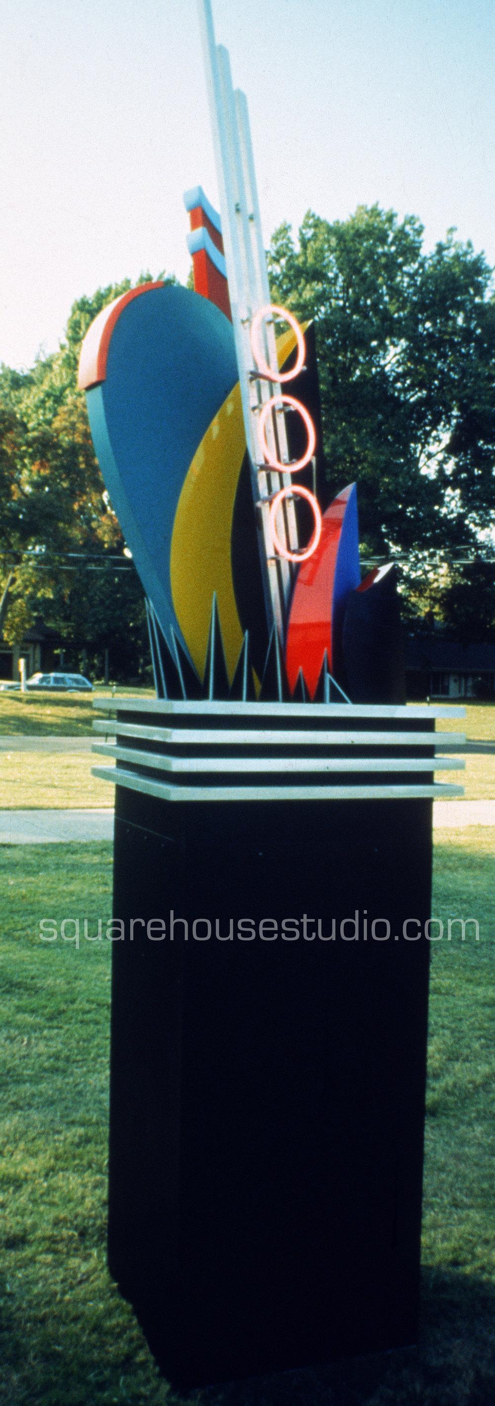 Memphis Music , 10' x 2' square aluminum, plexiglass and neon sculpture, $7000