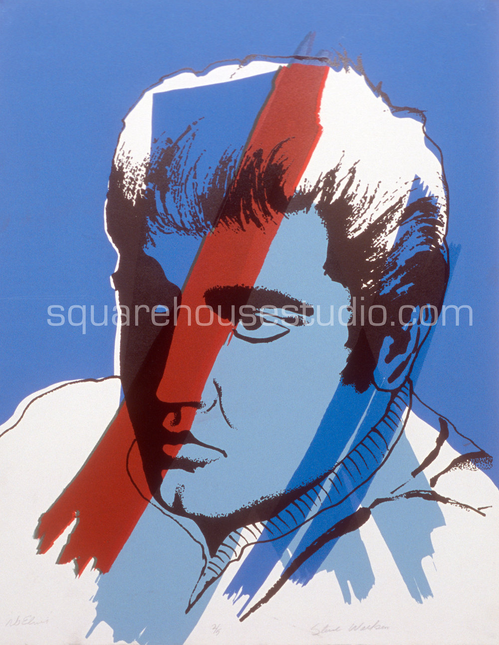 "No Elvis , 20"" x 28,"" original edition, $625 framed / $475 unframed, Available as giclée print—$450 framed / $300 unframed"