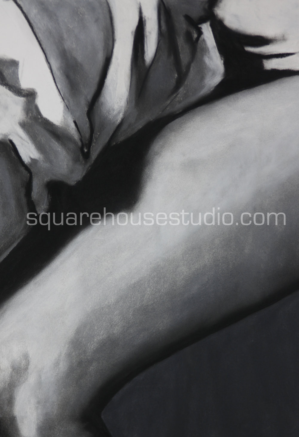"""Sunday Morning 1 , in a series of original charcoals drawings, 22"""" x 32,"""" $700, Available as giclée prints—$350 framed /$250 unframed"""