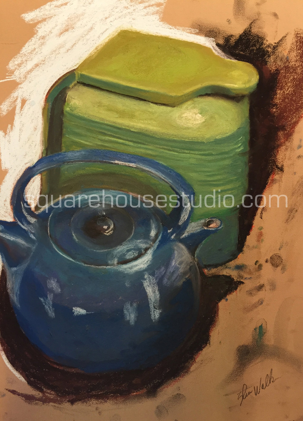 "Tea for Two , 16"" x 19,"" $550, Available as giclée print—$200 framed / $100 unframed"