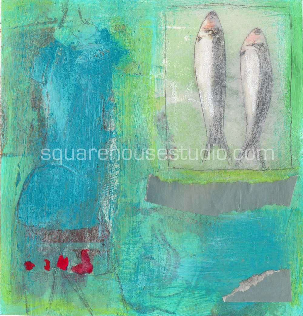 """Dressed to Fish , 6"""" x 6,"""" Available as a limited edition giclée print—$120 framed / $70 unframed"""