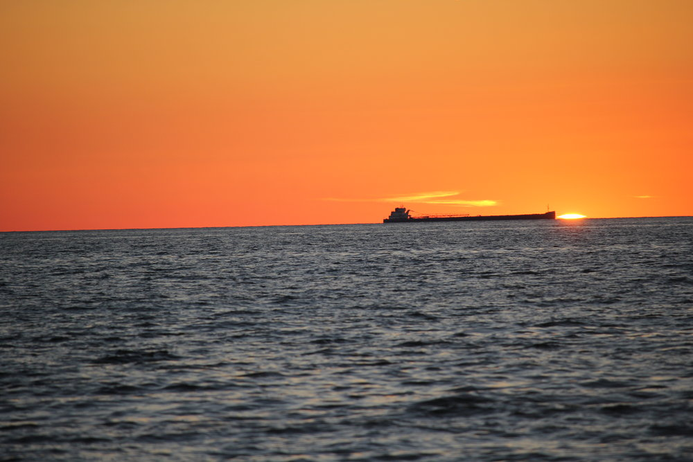 Ludington=frieghter sunset 9-22-18.JPG