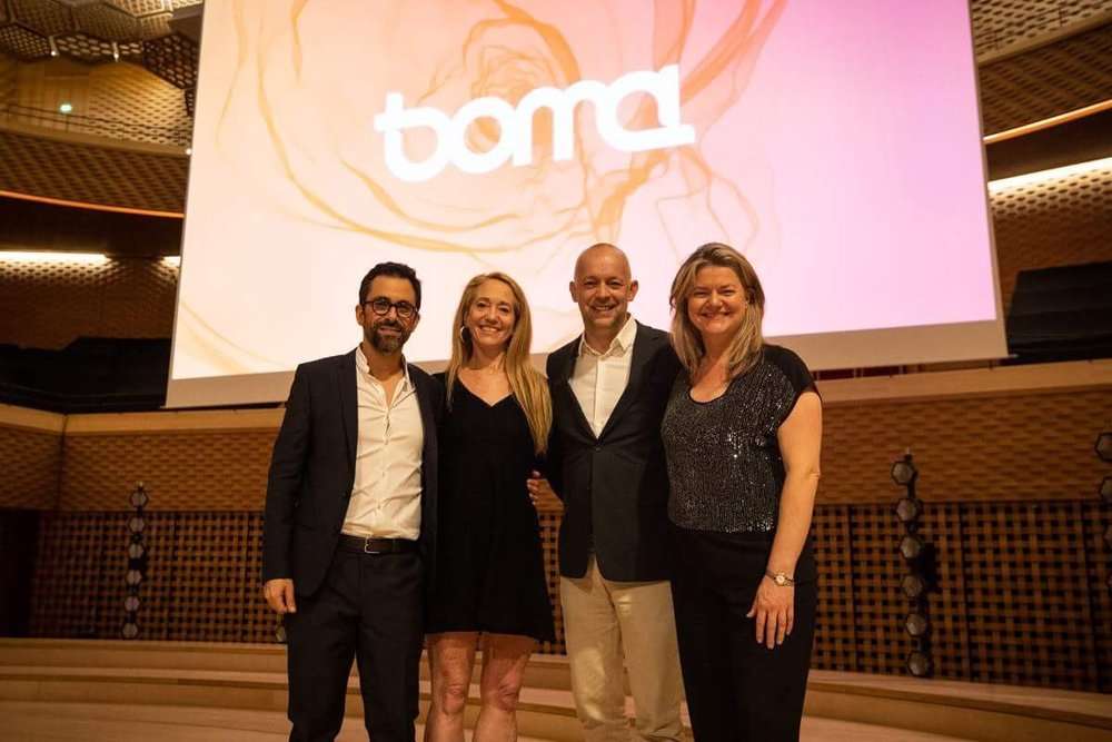 "Boma co-founders from left, Michel Levy-Provencal, Lara Stein, Stephan Balzer, and Kaila Colbin. Colbin said Boma's events were ""designed explicitly to generate tangible impact and outcomes, creating a better, more sustainable, and more human-centred future""."