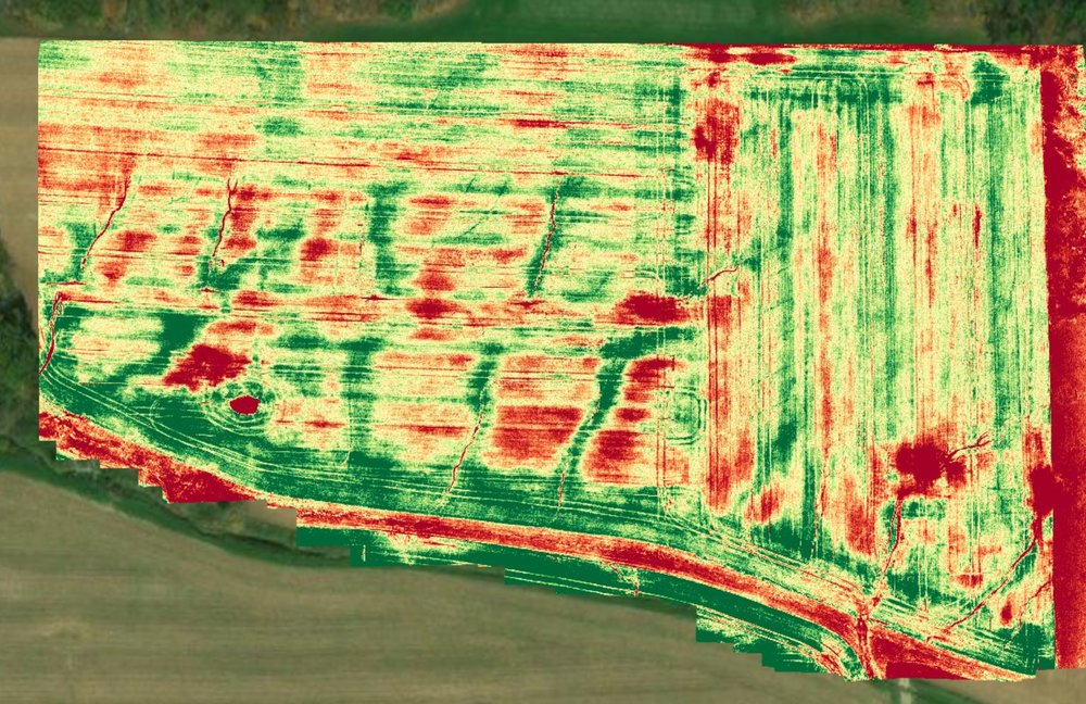IMAGERY - Imagery can help you with crop scouting and the decision making process in season, in an instant. We can offer you planned trips at prime times of the growing season that will help you with where to scout as well as where to apply. The imagery system will give you both a plant health and RGB image for viewing as well as allow us the ability to go to location within the field to compare a healthy area to an area that is showing stress. Along with the RGB and plant health we can also do elevation images that can aid in land leveling and tilling decisions.