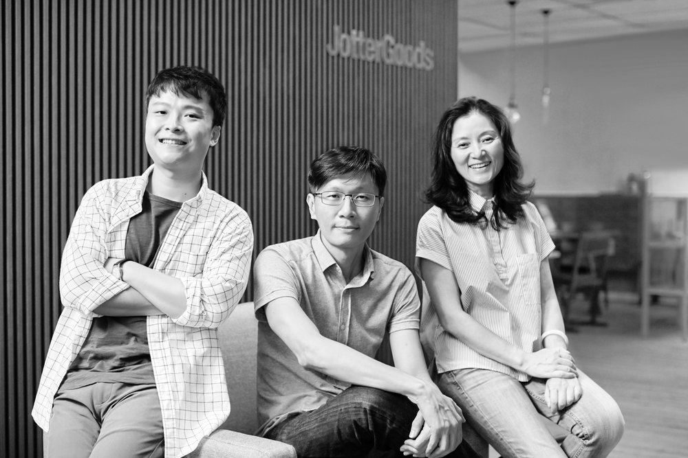 JGs - Design trio led by JotterGoods brainchild and resident designer, Jerry Low. / Jerry Low  ( middle )/  Zhang Wen Xian  ( right )/ Amos Goh ( left )