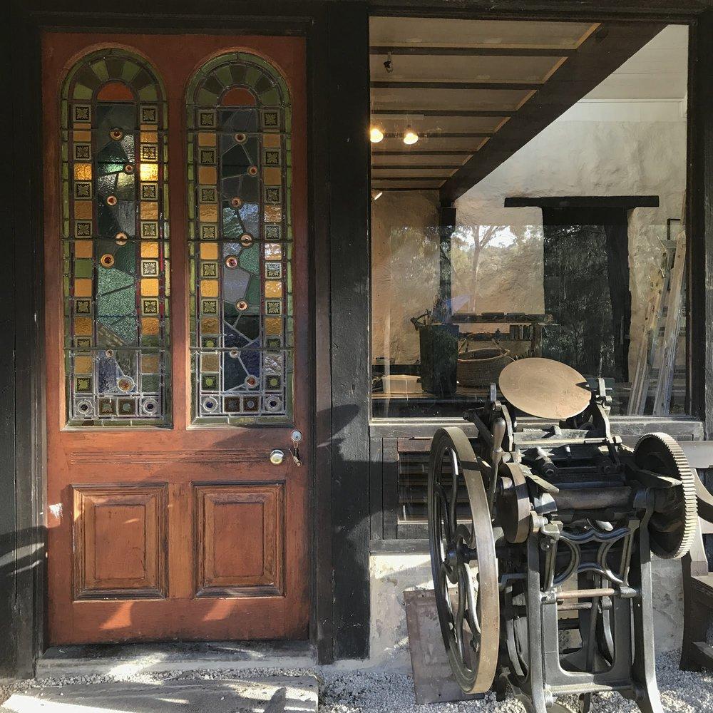 Main entrance and vintage letterpress
