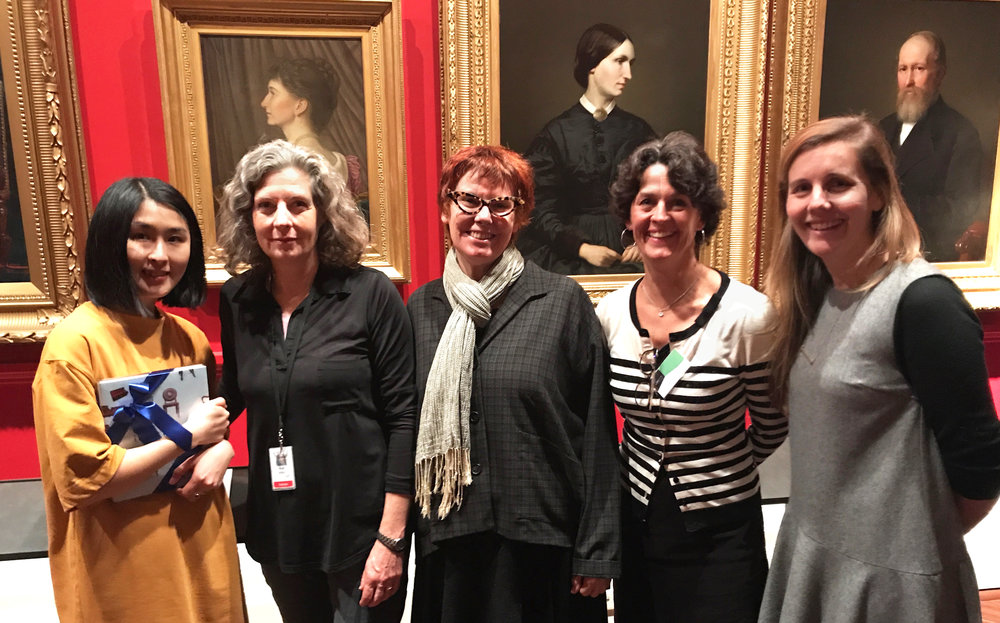2017 Creative Fellowship Residency announcement event, State Library Victoria L-R: 2017 resident Kyoko Imazu, 2016 resident Ros Atkins, Tess Edwards, Indra Kurzeme, Nicole Bowller