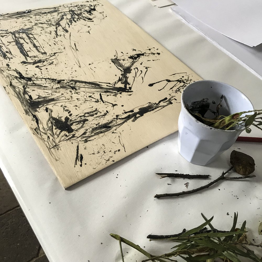 Initiating the drawing with some bush-found tools