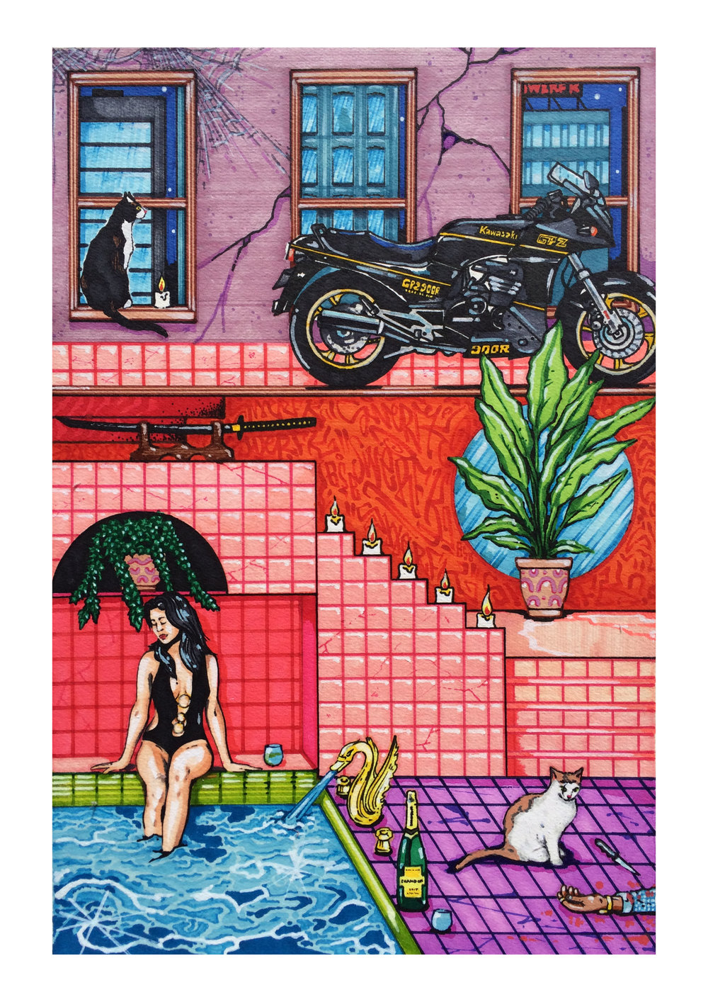 'Troubles In Paradise II'  - Ink and Water based markers on hahnemuhle paper.  30cm x 42cm  2018