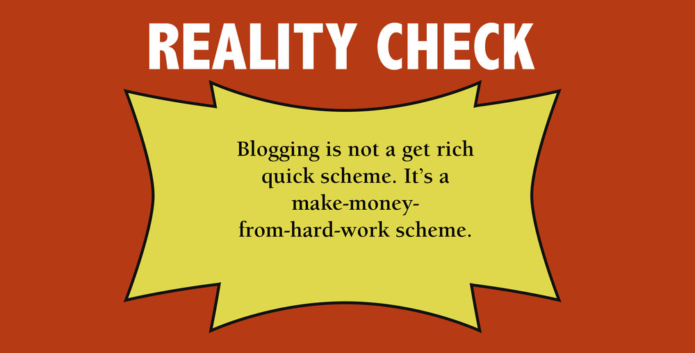 4 easy steps freelancers need to start their blog today. Blogging reality check infographic warning.