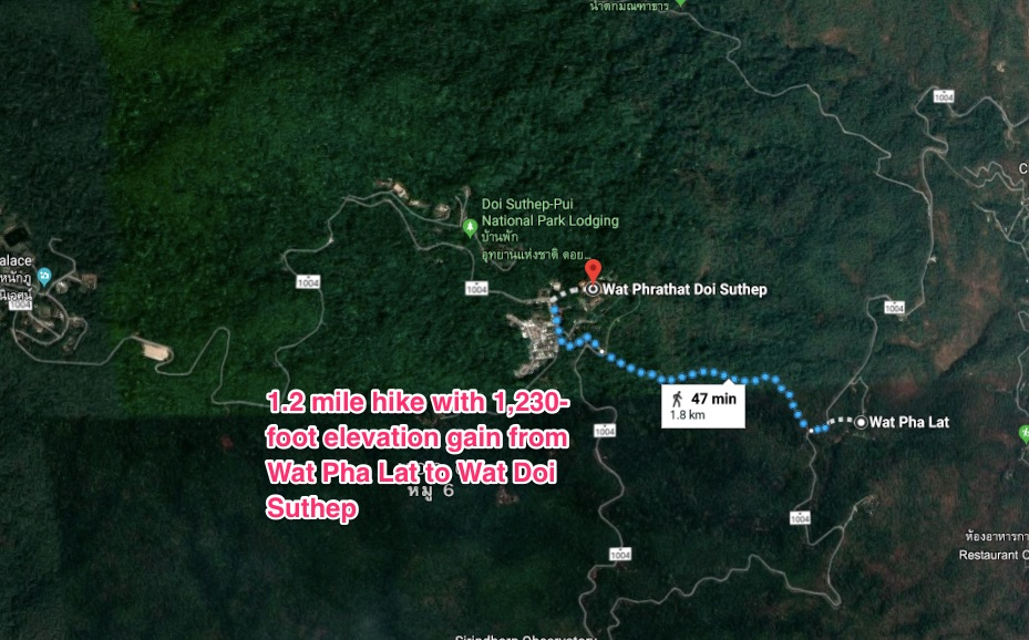 Monk's trail hike to Wat Pha Lat and Wat Doi Suthep Chiang Mai, Thailand