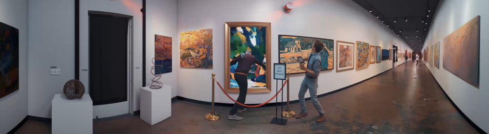 Sam Wickert and Eric Leigh of SOKRISPYMEDIA in Art Museum in Painting