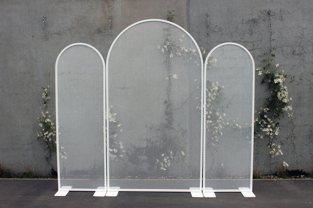 Perforated Arch Backdrop Set - White - 2.55m wide x 2.25m highPOA