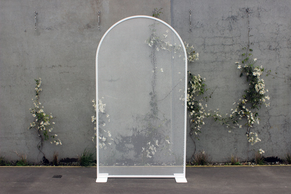 Single Perforated Arch Backdrop - White - 1.25m wide x 2.25m highPOA