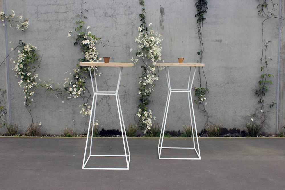 Round Ply Top Bar Tables - White - 60cm dia. x 1.1m highPOA