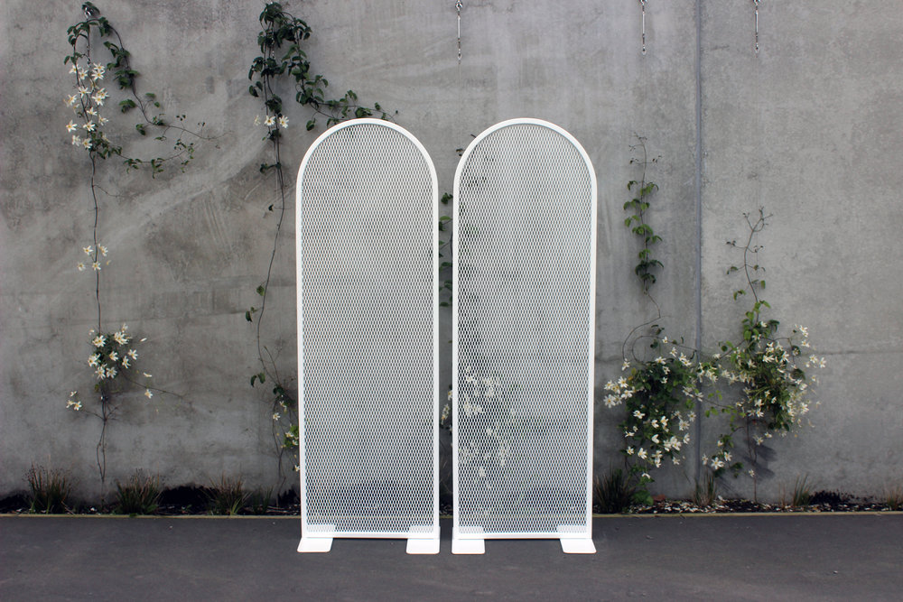 Small Perforated Arch Backdrop - White - 65cm wide x 1.95m highPOA