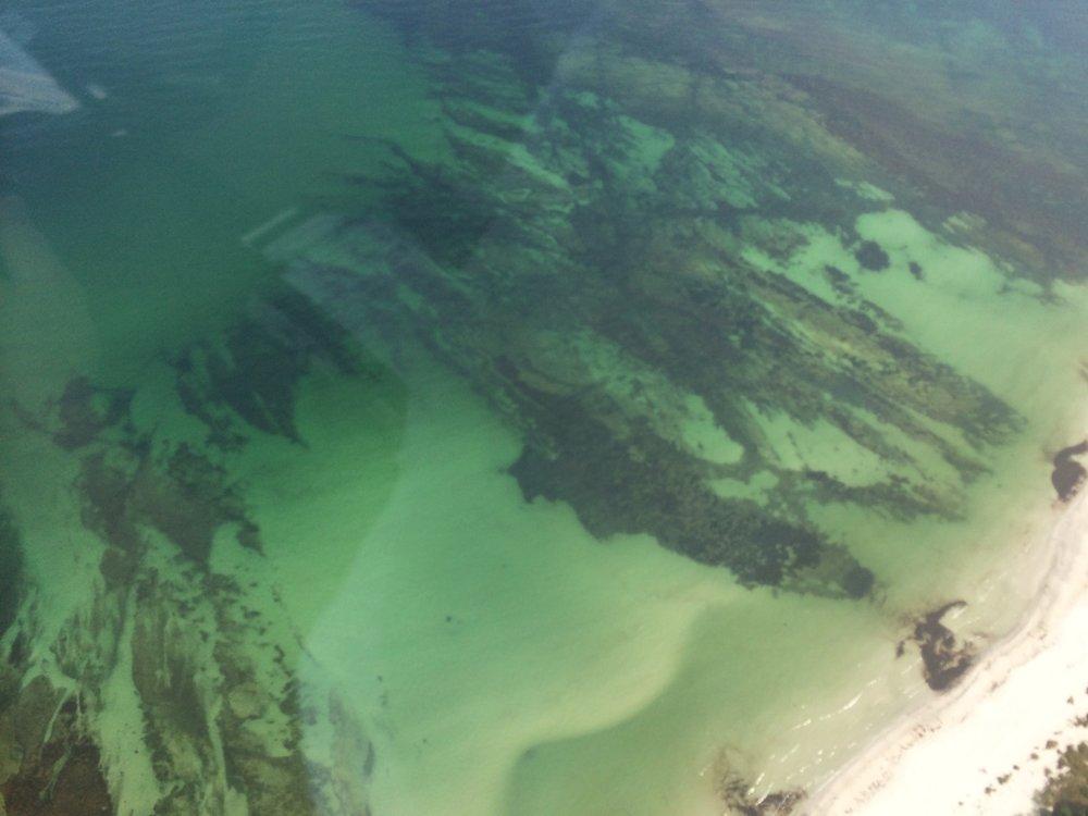 Farverne i vandet ved Snogebæk - klik for at se rutekort