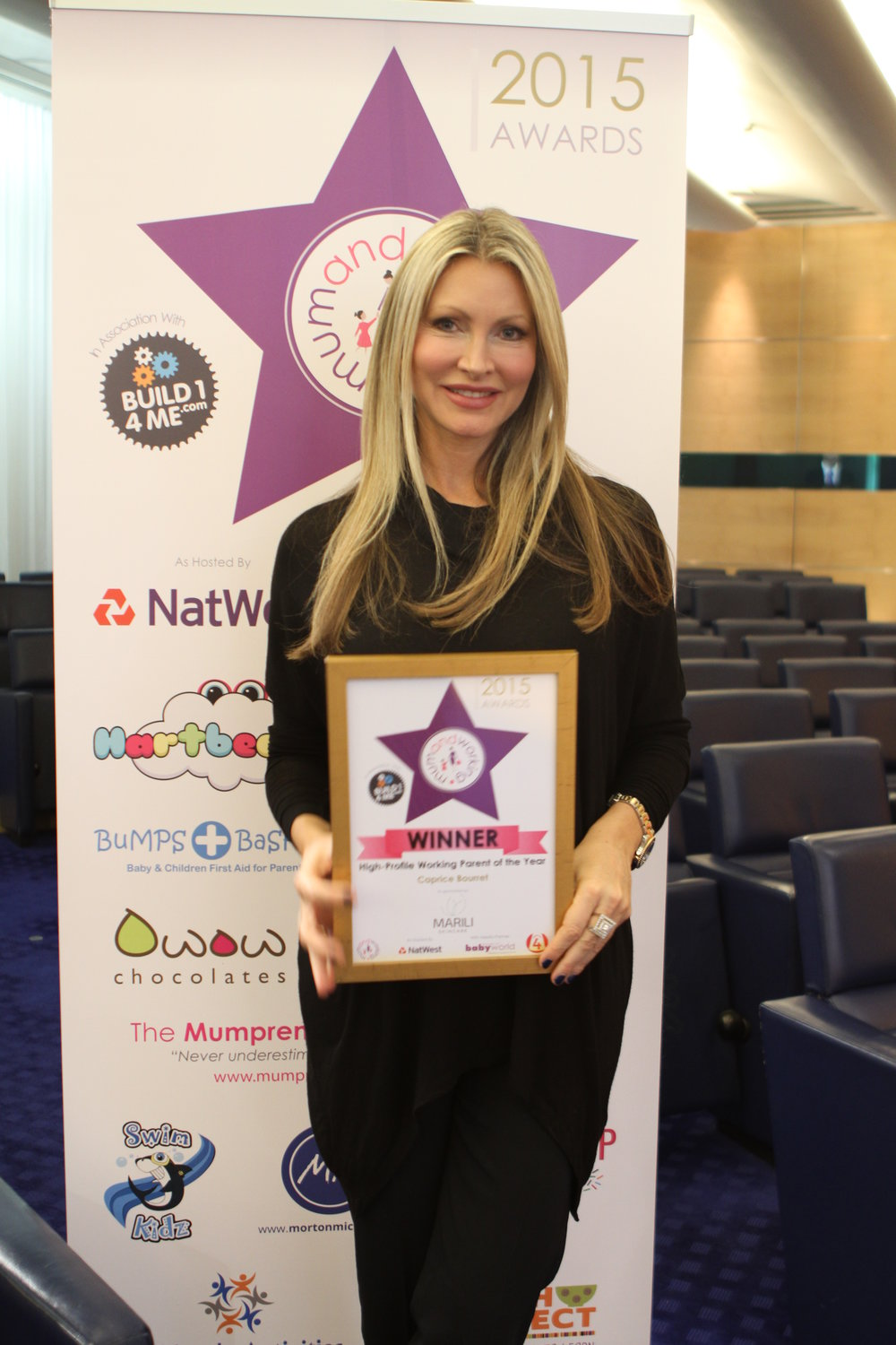 NATIONAL MUM AND WORKING AWARDS - Winner – High Profile Parent of the year 2015Caprice was the winner of this prestige award...in the category of high profile parent of the year.2015