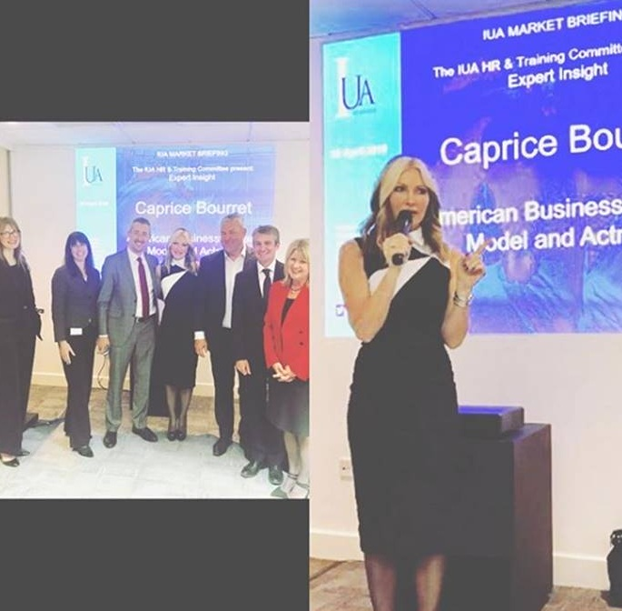 International Underwriting Association  - Keynote speaker at the IUA - Caprice discussed her journey from supermodel to businesswoman and the difficulties faced with the gender pay gap.2019