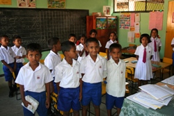 Children in a refurbished classroom