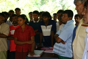Kalametiya fishermen at a Samithi (or association) meetting with Senahasa