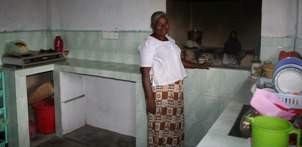 Dayawathi in her new kitchen