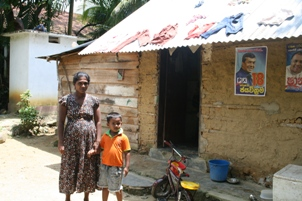 Shironi and her husband Chandana have one son and live in a wattle and daub house that is in a poor state.